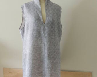 linen, sleeveless, v neck, dress