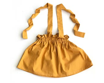 Mustard Suspender Skirt, Fall Skirt, Girls Skirt, Green Skirt, Brown Skirt, Toddlers, Girls Clothing
