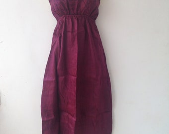Dress made from Re-Purposed Silk Saris from India // Burgundy Dress // Medium dress // summer dress  / boho summer
