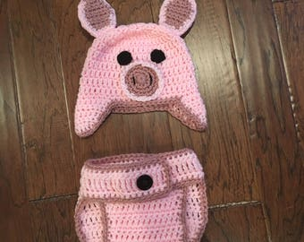 Crochet Pig Baby Set, Hat and Diaper Cover, Newborn Size, Handmade