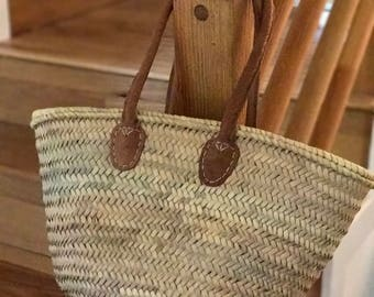 Medium Straw Beach Tote | French Market Basket with longer leather handles