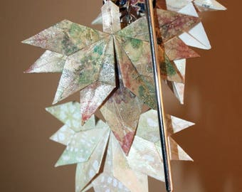 Origami Cascading Fall Leaves Copper Autumn Beads Hair Stick Charm