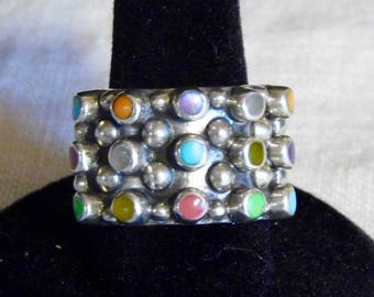 Big sterling ring with multiple stones--mid-century jewelry