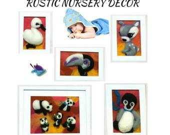 Panda Nursery Paintings, Baby Wall Art, Original Nursery Art, Nursery Wall Decor,Needle Felted Items, Beautiful Keepsake