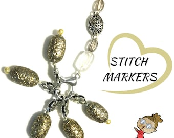Gold Glass Stitch Markers,Gift for Knitters,Lobster Claw Stitch Markers, Crochet Gift, Knitters Gift,Friendship Gift,Free Local Shipping