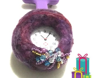 Burgundy Felted Watch Brooch,On Trend Brooch, Designer Brooch, Needle Felted Nurses Watch, Designer Watch,Free Local Shipping
