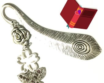 Butterfly  Bookmark, Keepsake Gift, Peacock Feather Antique Silver Bookmark, Bookworm Gift, Cherished Friendship Gift,  Free Local Shipping