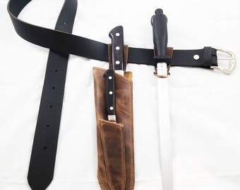 2 knives Leather sheath, Modular sheath, knife sheath, knives sheath, Sharpening rod sheath, knives belt, sheath belt, leather modular belt