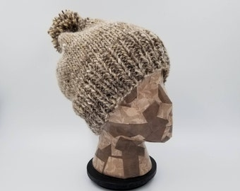 Pom Pom Beanie, Hand Knit Hat, Beige Beanie, Grey Beanie, Winter Hat, Hat for Women, Wool Hat, Wool Beanie, Bobble Hat, Alpaca Beanie