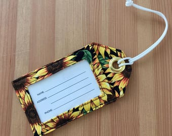 Sunflower Luggage Tag, Suitcase Tag, Fabric Luggage Tags, Bright Vacation Tag, Gift for Traveler, Bridesmaid Gifts, Travel Accessories