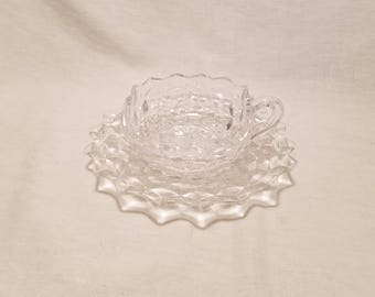 FOSTORIA AMERICAN NAPPY Square Nappie Handle Salad Plate Dessert Serving Clear Glass Cube Early American Crystal Cubist Retro Vintage