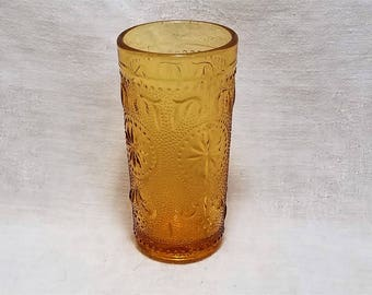 AMBER AMERICAN CONCORD Tumblers by Brockway Glass Juice Drink Scrolls Starburst Collect Vintage Retro