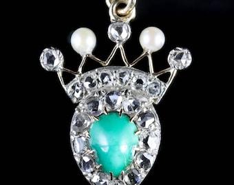 Antique Victorian Turquoise Pearl 1ct Diamond Pendant