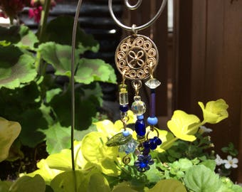 Blue Garden Fairy Wind Chime with Vintage Jewelry Pieces - Fairy Garden Accessory