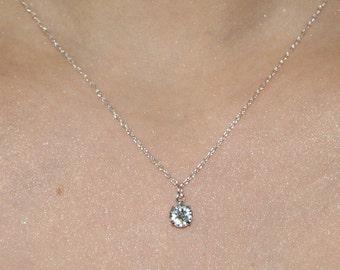 Dainty Faux Crystal Necklace / Swarovski Crystal Necklace / Silver Layering Necklace / Delicate Crystal Charm