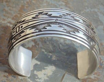 Rick Martinez ~ Navajo Heavy Wide Sterling Silver Overlay Cuff Bracelet - 54 Grams