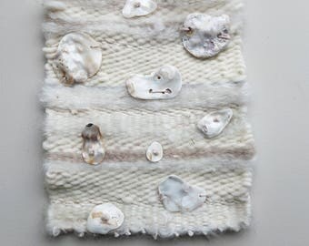 Fiber and Flora, Real Natural Sea Shells Weave /Organic Hand Woven Wool Wall Hanging Art  / Natural Ocean Decor /Soft Purples, Greys & White