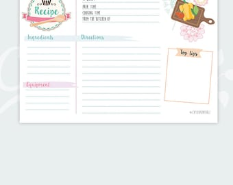 Recipe Card Shower Recipe Card Kitchen Recipe Card - Instant Download Recipe watercolour pastel colors