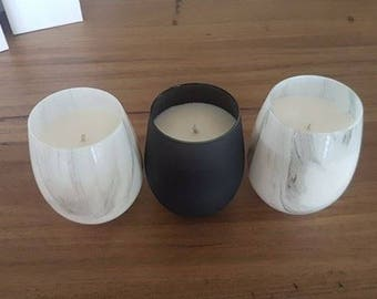Stemless wine glass 400g soy candle marble look