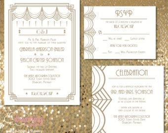 Gatsby Art Deco Roaring 20s Wedding Invitation Set - Gold