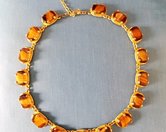 Vintage Mid Century Glam Chunky Panel Necklace Gold Tone Brown Stoned Heavy Retro Necklace Art Deco Style