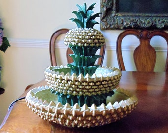 Vintage Pineapple Indoor Fountain, Tabletop 2-Tiers Pineapple Water Fountain, Pineapple Electric Decor, Home/Office Tranquility Table Accent