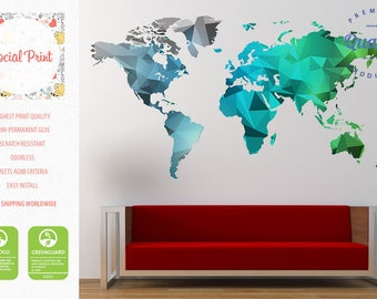 World map decal etsy world map wall decal silver teal green free shipping easy install home decoration sciox Choice Image