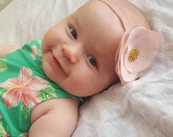Girls pink flower headband, baby girl pink flower on nylon band, girls flower headband, newborn flower headbands, pink flower headband