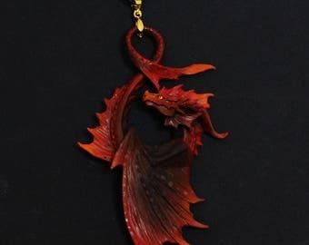FREE SHIPPING glowing in dark Fire dark dragon charm necklace pendant jewellery fantasy creature cast