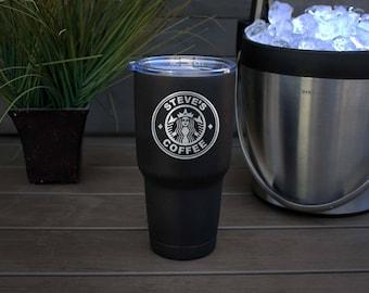 30 oz Engraved Tumbler, Custom Tumbler, YETI like, Stainless steel Mug, Vacuum Insulated Mug, Personalized Tumbler--pc30-b-Starbucks