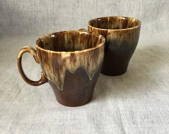 Vintage Canonsburg Brown Drip Coffee Mugs, Set of 2
