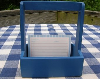 Recipe Card Box - Wood, Blue, Handled Box - Kitchen, Dining, Gift Recipe Box