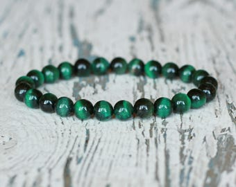 dark green bracelet tigers eye green 8mm beads bracelets amulet protection jewelry Deep Green Stones mens bracelet gifts vegan gemstones