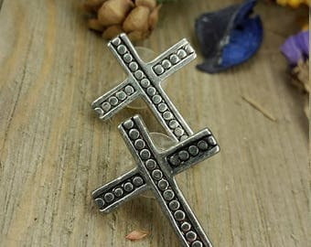Vintage Silver Cross Earrings