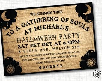 HALLOWEEN INVITATION, Ouija board, wood, black, skull, planchette  (digital file, personalised).