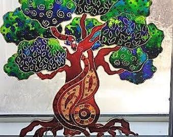 Tree of life art  Glass painting Bohemian decor  Original painting Wall decor Stained glass