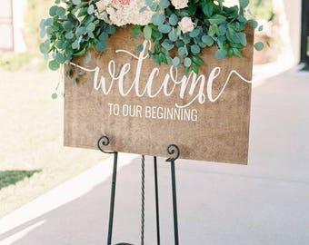 Welcome to our beginning Welcome to our beginning sign Welcome to our Beginning wood sign welcome wedding sign wood sign 36x24 wedding sign