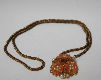 2 FOR 1 - 1980s-1990s Floral Necklace - Coral and Faux Pearls - 2 FOR 1