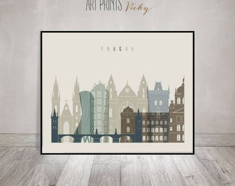 Prague art print, Poster, Prague skyline, Travel Wall art, Czech Republic, Travel Decor, City poster, Gift, Home Decor, ArtPrintsVicky