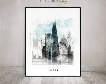 London Wall Art, London Skyline Poster, Travel Print, Contemporary Art,  Mixed Media