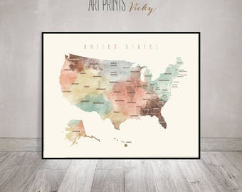 United States Print Etsy - Us map states with names