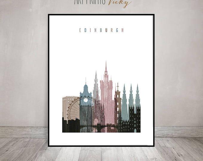 Edinburgh skyline art, Edinburgh print, Poster, Travel gift, Distressed wall art, Scotland art, City poster, Home Decor, ArtPrintsVicky