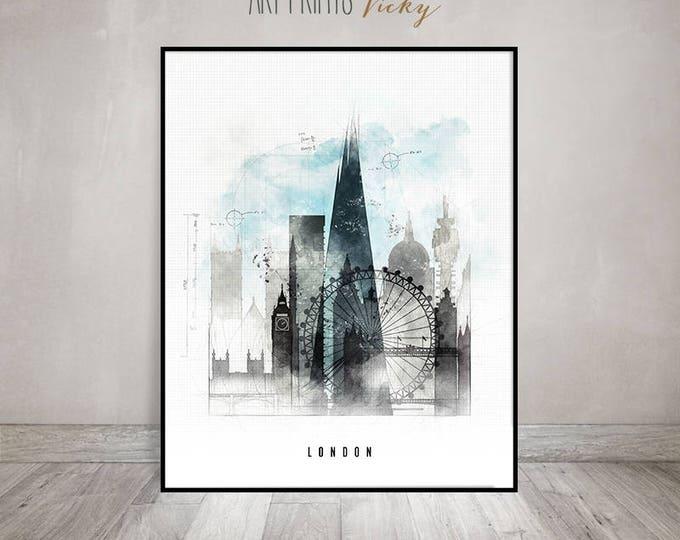 London wall art, London skyline poster, travel print, contemporary art, mixed media, digital hand drawn cityscape by ArtPrintsVicky