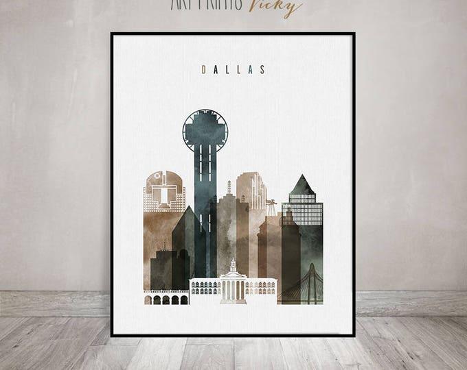 Dallas skyline art print, Dallas watercolor poster, Wall art, Travel poster, housewarming gift, Travel gift, Home Decor, ArtPrintsVicky