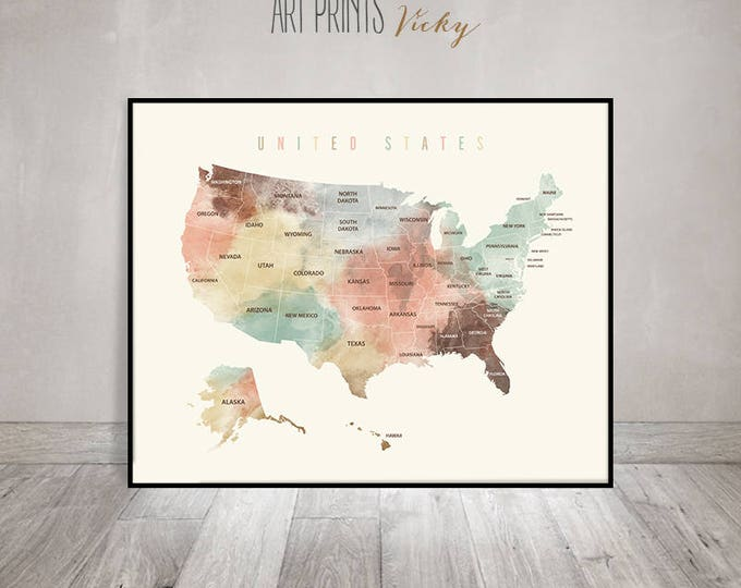 United States map print, USA map poster with states names | ArtPrintsVicky.com