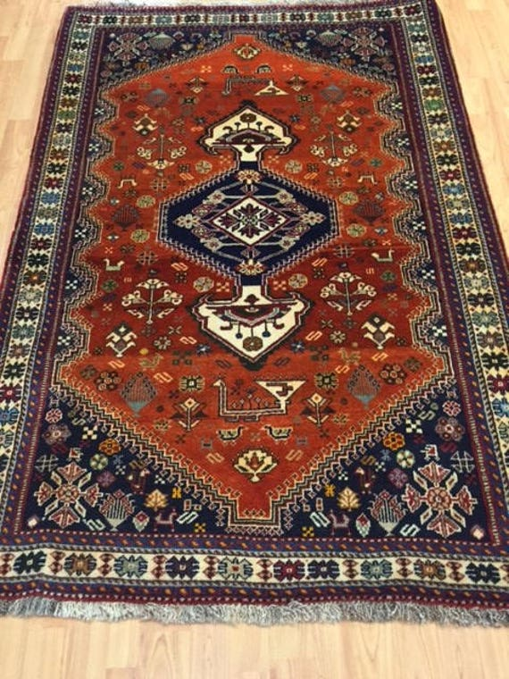"3'5"" x 5'3"" Persian Shiraz Oriental Rug - Hand Made - 100% Wool"