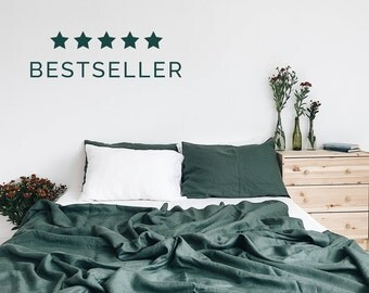 Emerald. 3-Piece linen bedding set. Linen duvet cover, 2 pillowcases. Dark green. US Full, US Queen, US King, Euro size, Ikea size