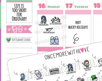 Wacky Holidays - May 2018 Planner Stickers (2018 - W05)