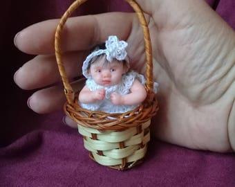 OOAK polimer clay miniature baby doll 2.9', handmade,mini babies,doll, doll handsculpt, mini reborn doll, polimer clay doll