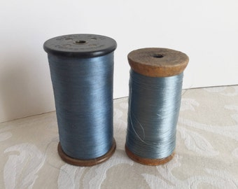 Set of 2 Vintage Spools with Thread Stehli Silks Corporation 1920's 1930's Country Farmhouse Primitive Decor Sewing Notions